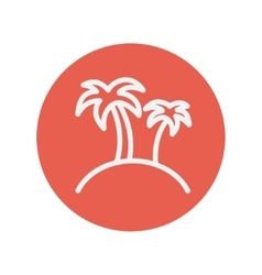 Two palm trees thin line icon vector
