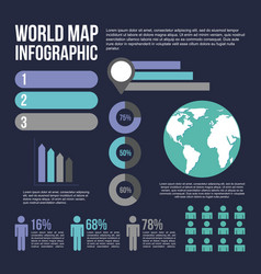 world map infographic with population diagram vector image vector image