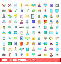 100 office work icons set cartoon style vector