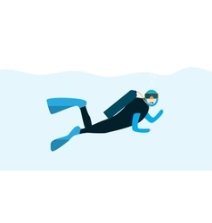 Underwater people cartoon scuba diver concept vector