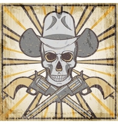 Wild west vintage grunge emblem with revolvers and vector
