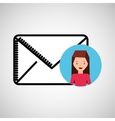 character hand draw email envelope icon design vector image