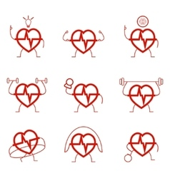 Heart power set health cardio vector