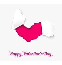 Torn paper heart over pink background vector