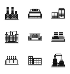Production plant icons set simple style vector