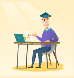 Graduate getting diploma from the computer vector