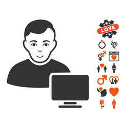 Computer administrator icon with dating bonus vector