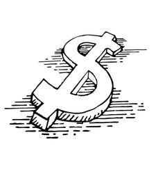 Money sign hand sketch vector