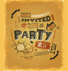 Party invitation poster on kraft paper vector