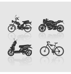 Set silhouettes bikes vector