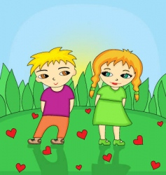 Boy and girl in love vector