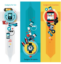 Wearable technology banners vertical vector