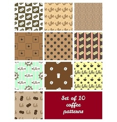 Set of 10 coffee patterns vector