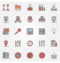 Colorful hotel icons vector