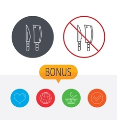 Butcher and kitchen knives icon vector