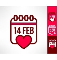 Set of otline valentines calendar reminder vector