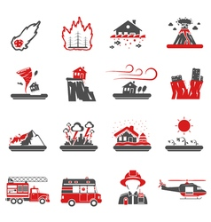 Natural disaster red black icons collection vector