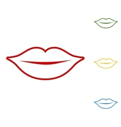 Lips sign set of line icons vector