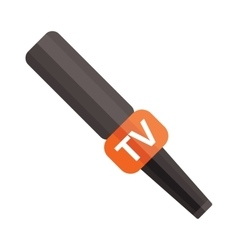Tv news microphone with blank box isolated on a vector