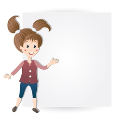 Girl at the billboard vector