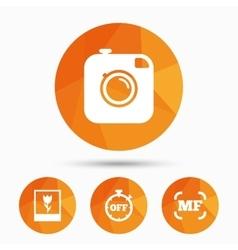 Photo camera icon manual focus and macro signs vector