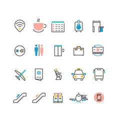 Airoport icons with line and colorful elements vector