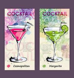 Artistic decorative cocktail menu vector
