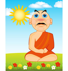 buddhist on glade with flower vector image