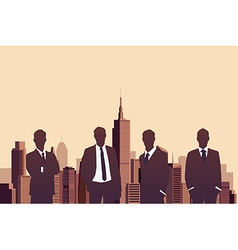 Businessman standing with a city background vector image