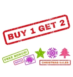 Buy 1 get 2 rubber stamp vector