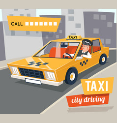 Cab taxi driver cartoon retro car city driving vector
