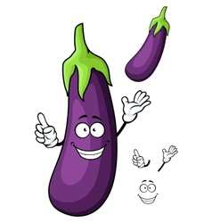 Cartoon glossy violet eggplant vegetable character vector image