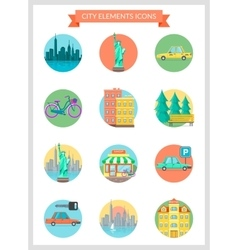 City elements vector image