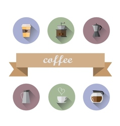 Coffee Shop flat icons vector image vector image