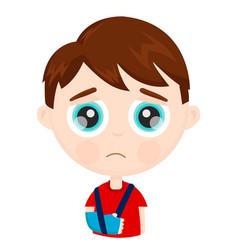 cute sad little boy kid child with broken vector image vector image