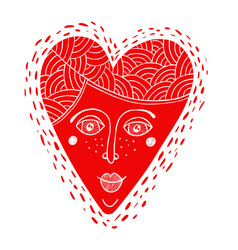 Decorative cartoon heart with the woman face vector