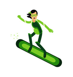 ecological superhero woman flying on a snowboard vector image