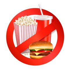 fast food danger label vector image vector image