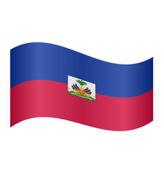 Flag of haiti waving on white background vector