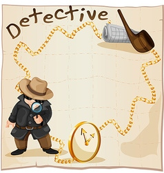 Frame design with detective and smoking pipe vector