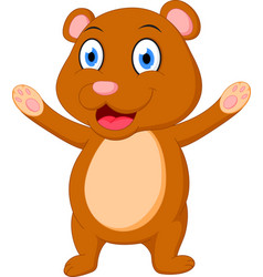 Happy brown bear cartoon vector
