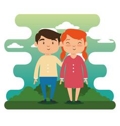 happy grandchildren cartoon vector image