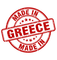 made in greece red grunge round stamp vector image