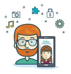 Man community online smartphone with app media vector