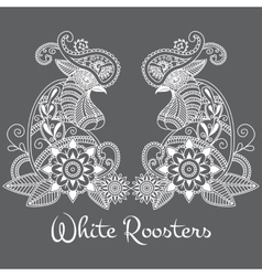 mehendi White roosters vector image