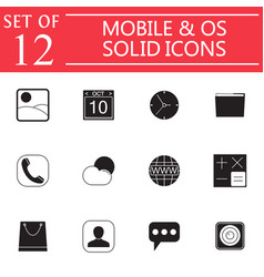 Mobile and os solid icon set symbols collection vector