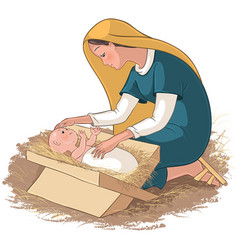 Mother mary with child jesus in the manger vector