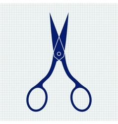 Nail scissors blue icon on notebook sheet grid vector