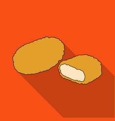 Nugget single icon in flat stylenugget vector