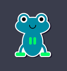 paper sticker on stylish background frog cartoon vector image vector image